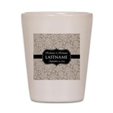 Wedding Favor - Taupe Damask Shot Glass