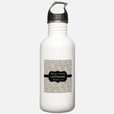 Wedding Favor - Taupe Damask Water Bottle