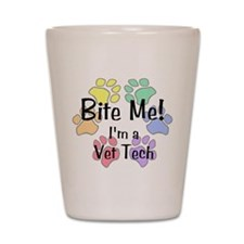 Shot Glass - Bite Me I'm A Vet Tech Pawprints