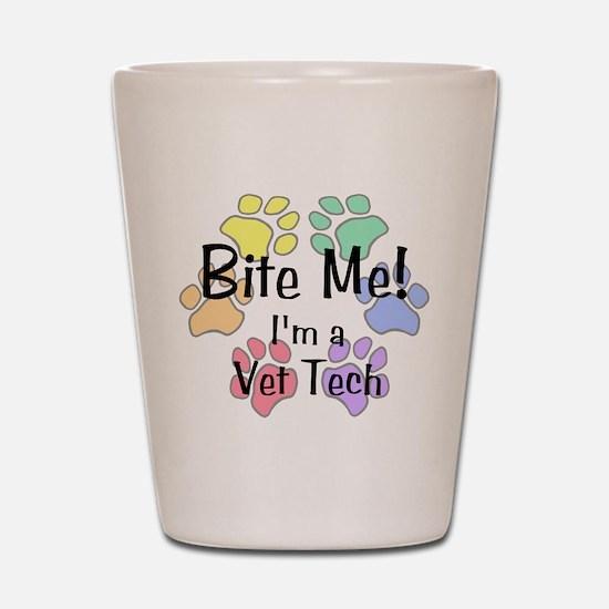 Shot Glass - Bite Me I'm A Vet Tech Pawprints