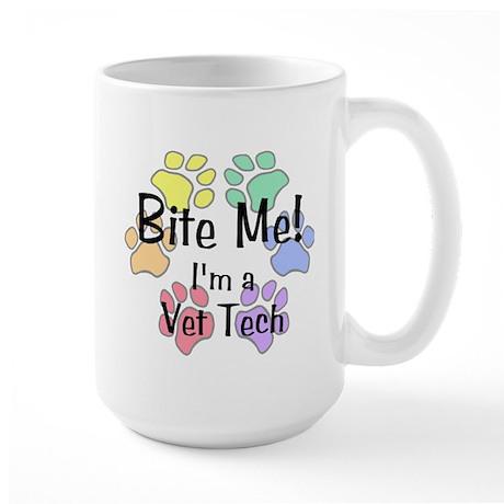 Large Mug - Bite Me I'm A Vet Tech Pawprints