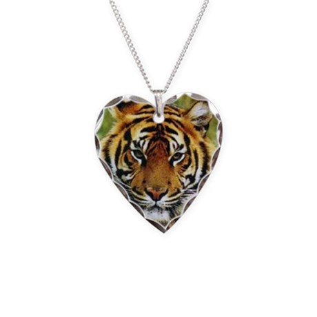 Tiger Photo Necklace Heart Charm