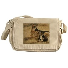 German Shepherd with GSD Pupp Messenger Bag