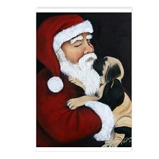 Mastiff Puppy with Santa Postcards (Package of 8)
