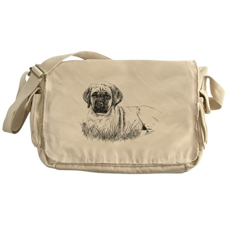 Mastiff Puppy in Grass Messenger Bag