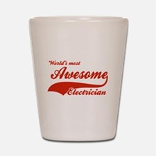 World's Most Awesome Electrician Shot Glass