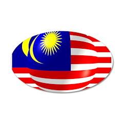 Malaysian Flag Design 22x14 Oval Wall Peel
