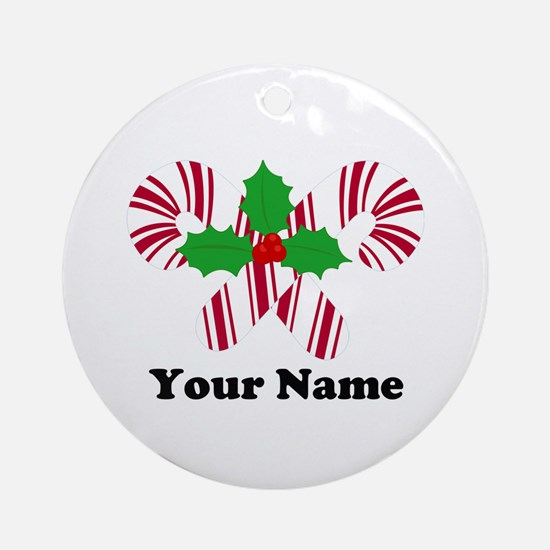Personalized Candy Canes Ornament (Round)