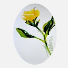 """Single Texas Rose"" Oval Ornament"
