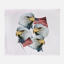 Eagles and Flags Throw Blanket