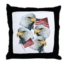 Eagles and Flags Throw Pillow