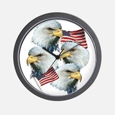 Eagles and Flags Wall Clock