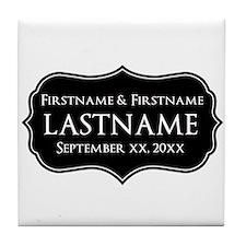 Personalized Wedding Nameplat Tile Coaster