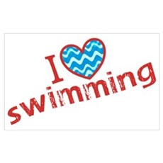 I heart (love) Swimming Framed Print