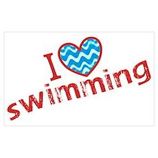 I heart (love) Swimming Poster