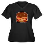 Bacon QUAD! Women's Plus Size V-Neck Dark T-Shirt