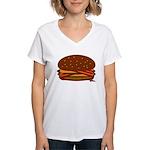 Bacon DOUBLE Cheese! Women's V-Neck T-Shirt