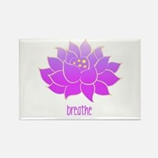 Breathe Lotus Rectangle Magnet