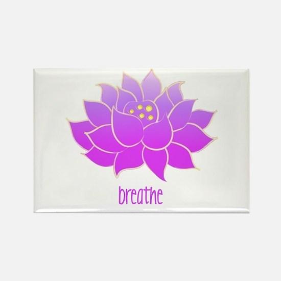 Breathe Lotus Rectangle Magnet