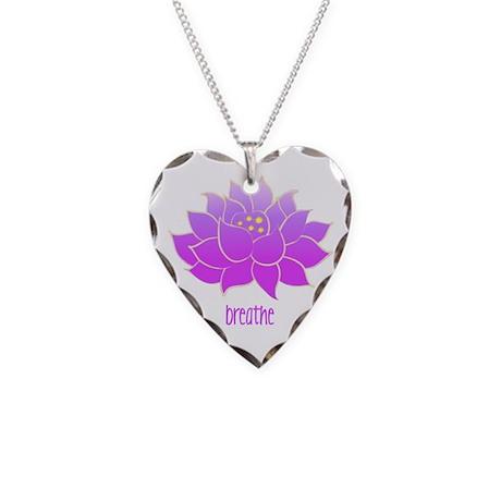 Breathe Lotus Necklace Heart Charm