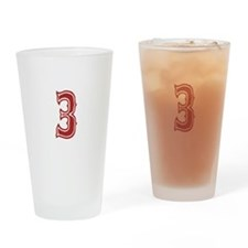 Red Sox White #3 Drinking Glass