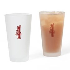 Red Sox White #4 Drinking Glass
