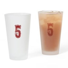 Red Sox White #5 Drinking Glass
