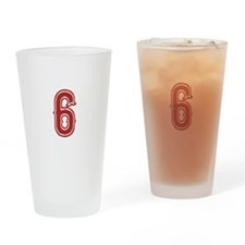 Red Sox White #6 Drinking Glass