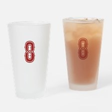 Red Sox White #8 Drinking Glass