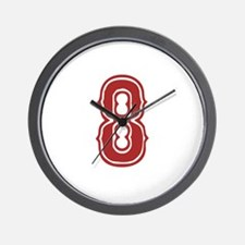 Red Sox White #8 Wall Clock