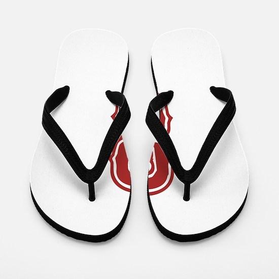 Red Sox White #8 Flip Flops