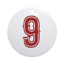Red Sox White #9 Ornament (Round)