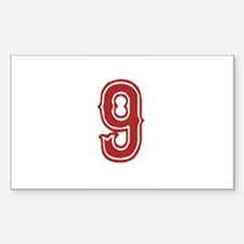 Red Sox White #9 Sticker (Rectangle)