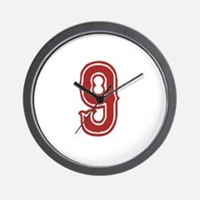 Red Sox White #9 Wall Clock
