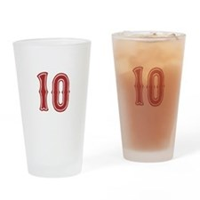Red Sox White #10 Drinking Glass