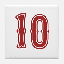 Red Sox White #10 Tile Coaster