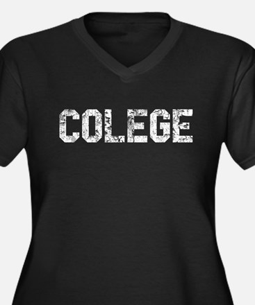 COLEGE Women's Plus Size V-Neck Dark T-Shirt