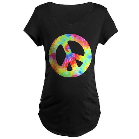 Peace Sign Maternity Dark T-Shirt
