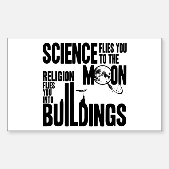 Science Vs. Religion Sticker (Rectangle)