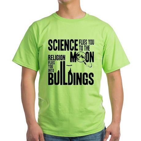 Science Vs. Religion Green T-Shirt