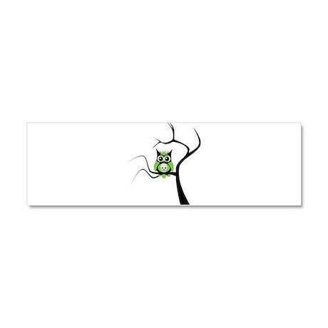 Green Sugar Skull Owl in Tree Car Magnet 10 x 3