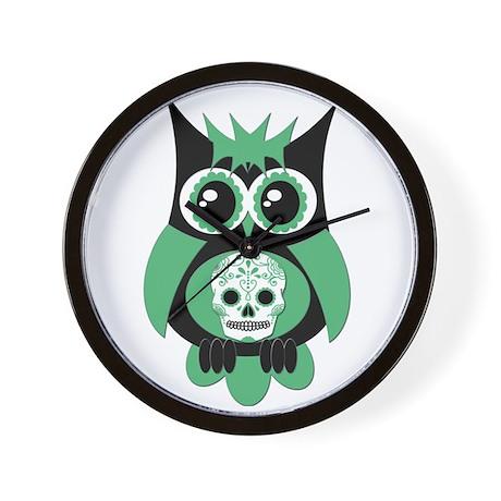 Green Sugar Skull Owl Wall Clock
