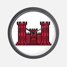 Engineer Branch Insignia - Red Wall Clock