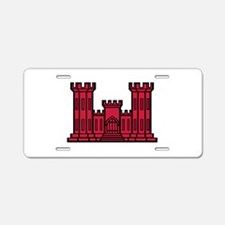 Engineer Branch Insignia - Red Aluminum License Pl