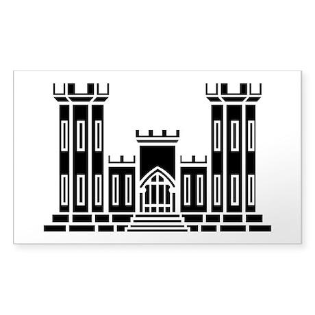 Engineer Branch Insignia - B-W Sticker (Rectangle)