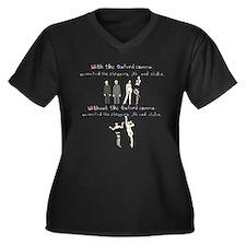 Oxford comma Women's Plus Size V-Neck Dark T-Shirt