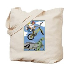 BMX Bike Alien Attack Tote Bag