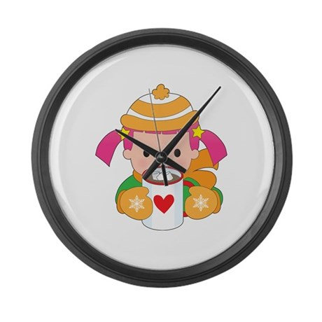 Child and Hot Chocolate Large Wall Clock