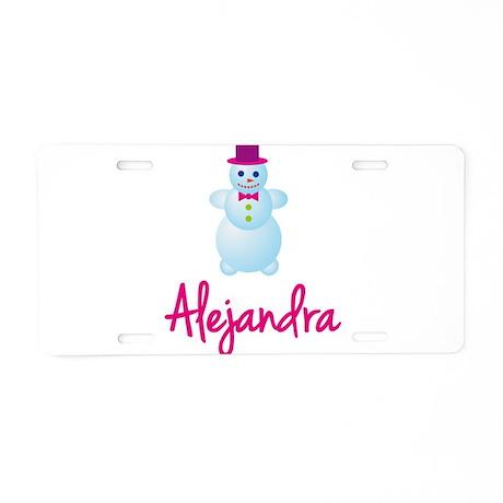 Alejandra the snow woman Aluminum License Plate