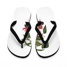 Fuschia Print Flip Flops